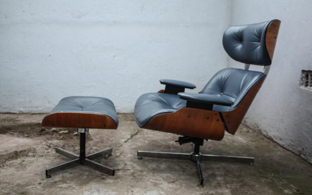 Vintage Plycraft lounge chair and ottoman. Sold