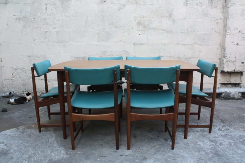 Teal colour chairs and table