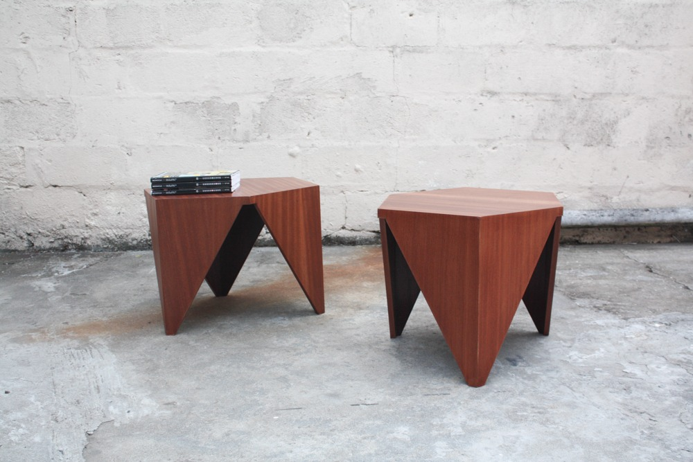 Geometric Mid century side tables. Sold