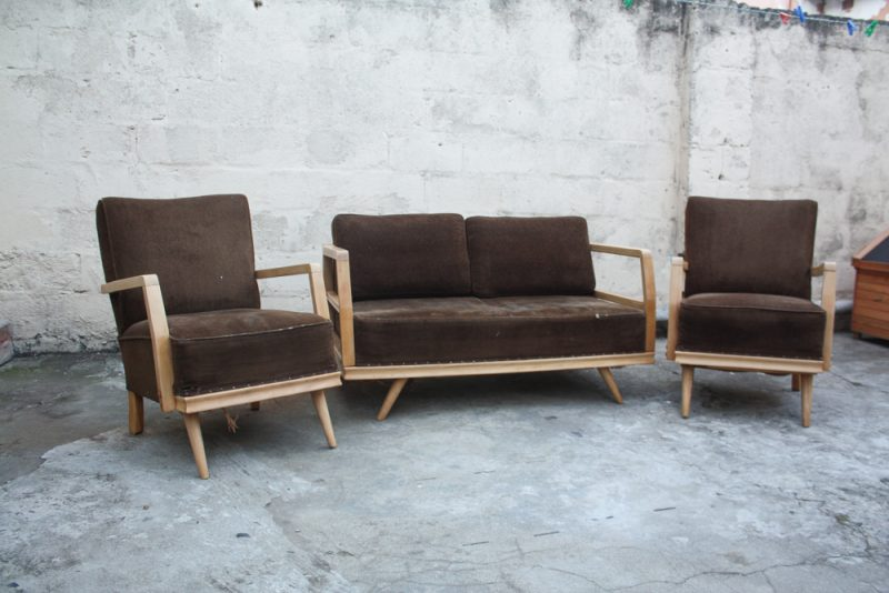 Mid century beechwood two single seater and couch set