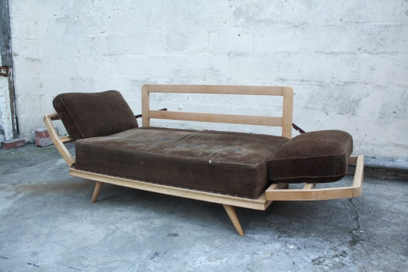 folded open as a day bed