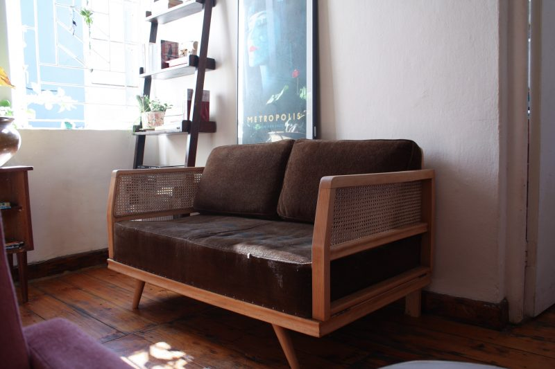 1970's beech wood couch