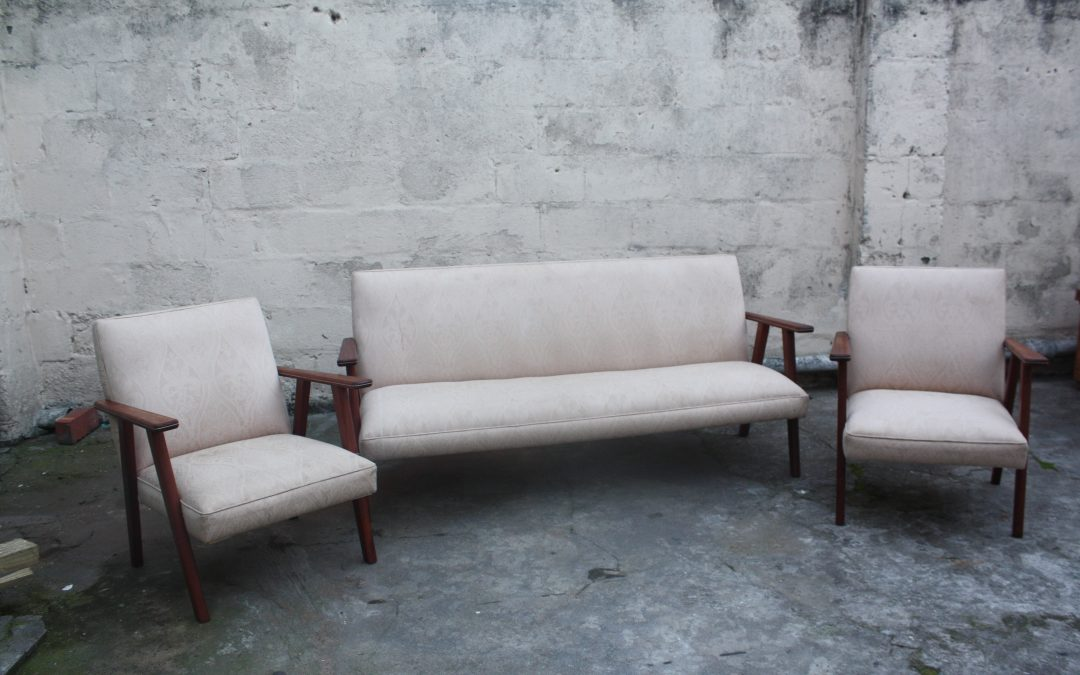 English mahogany Mid century lounge. Sold
