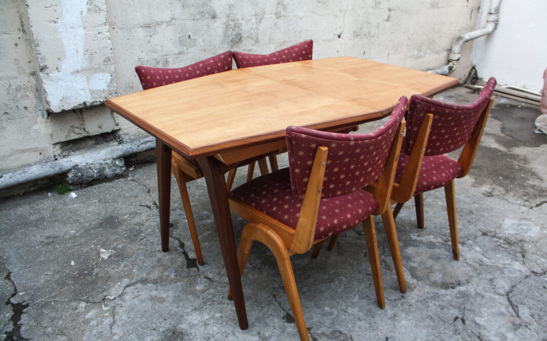 Mid century Beechwood & Mahogany Table. Sold