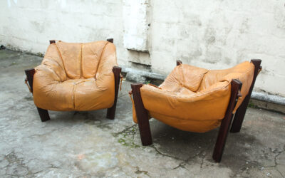MP-211 Leather Lounge chairs by Percival Lafer Mid century. Sold
