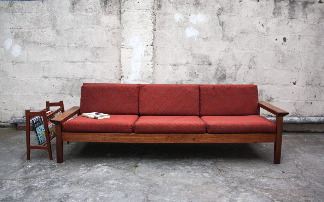 red mid centry sofa
