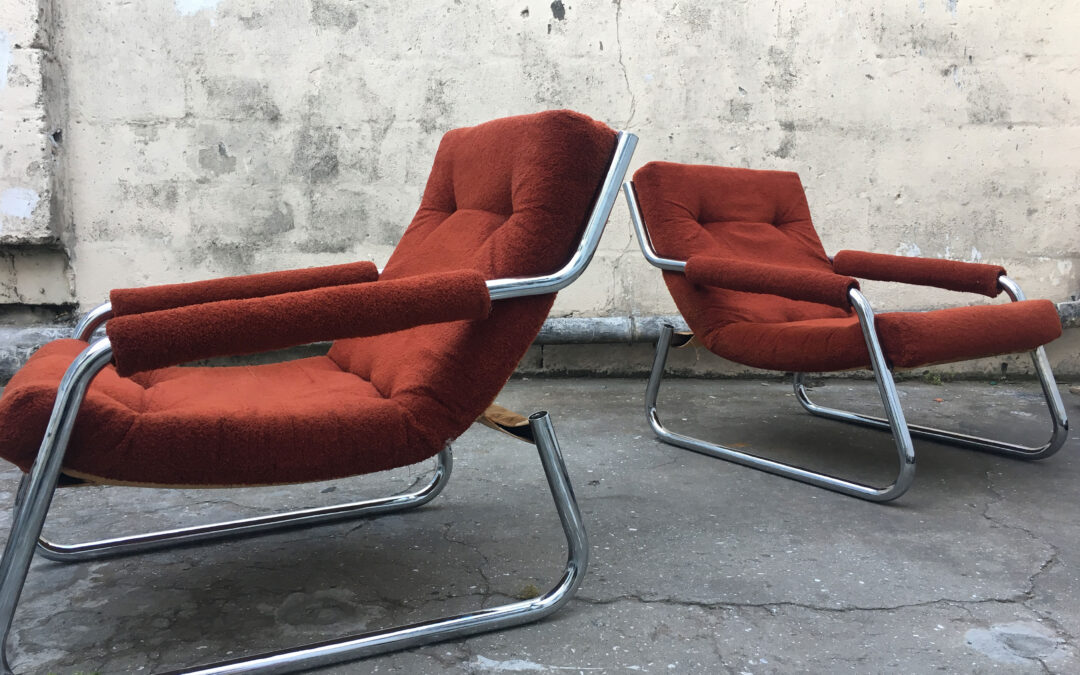 Burnt Orange Chrome Mid century armchairs. Sold