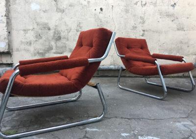 Burnt Orange Chrome Mid century armchairs  for R 3,000 each
