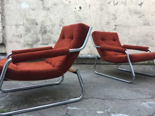 Burnt Orange Chrome Mid century armchairs  for R 3,000 each