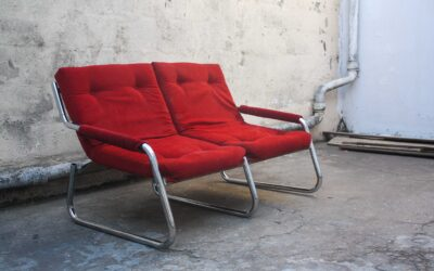 Red Mid century Retro Vintage 2 seat loveseat couch. Sold